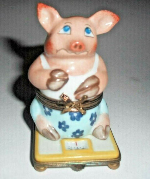 Pig on Scale Weight Loss Limoges Box - This will take 3 extra days to ship out
