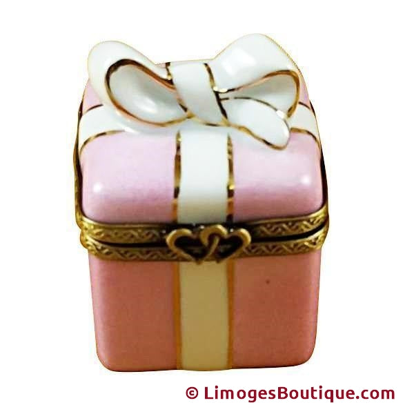 PINK GIFT WRAPPED BOX W/GOLD RIBBON-special Rochard Limoges Box-Rochard-Limoges Box Boutique