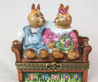 Rabbits on Bench  - RARE RETIRED - 3 Extra Days to Ship