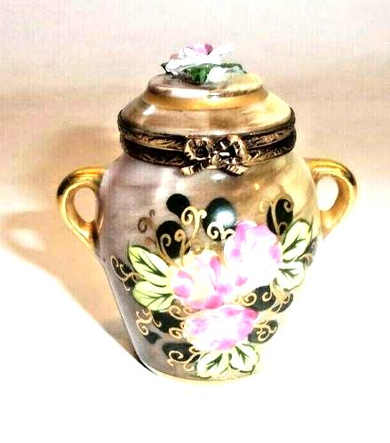 Brown Tea Urn Chest w Rose Rosand Motiff Limoges Box