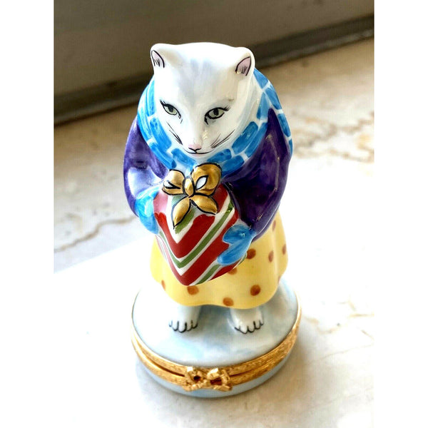 Cat Bearing Christmas Present Limoges Boxes