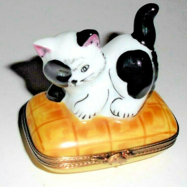 Spotted Cat Playing Limoges Box - This will take 3 xtra Days to Ship