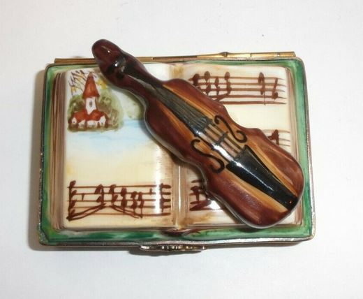 Violin on Book Limoges Box - This will take 3 extra days to ship out
