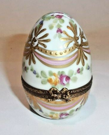 Flowers on White Golden Egg Limoges Box - This will take 3 xtra Days to Ship