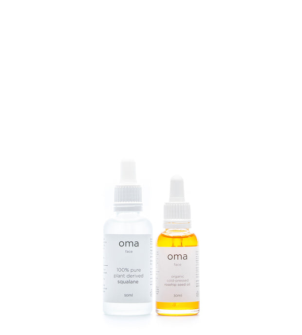 Bundle: Organic Cold-Pressed Rosehip Seed Oil 30ml + 100% Pure Plant Derived Squalane 50ml