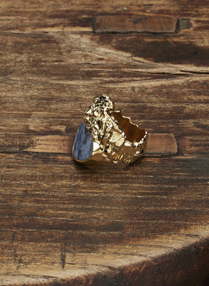 Black Opal, 18 carat gold plated ring
