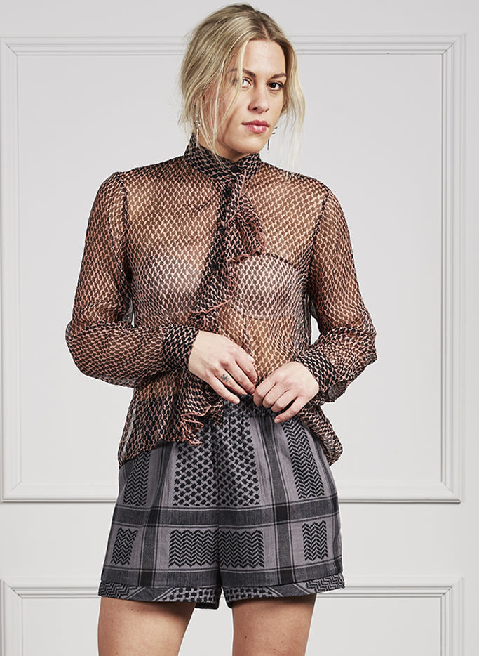 Transparent Emika shirt with asymmetrical lace detail