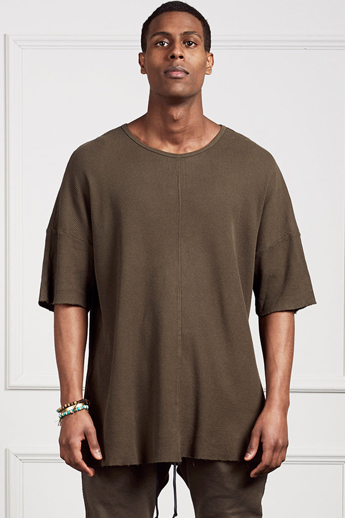 Oversized Tee, waffle thermal, army