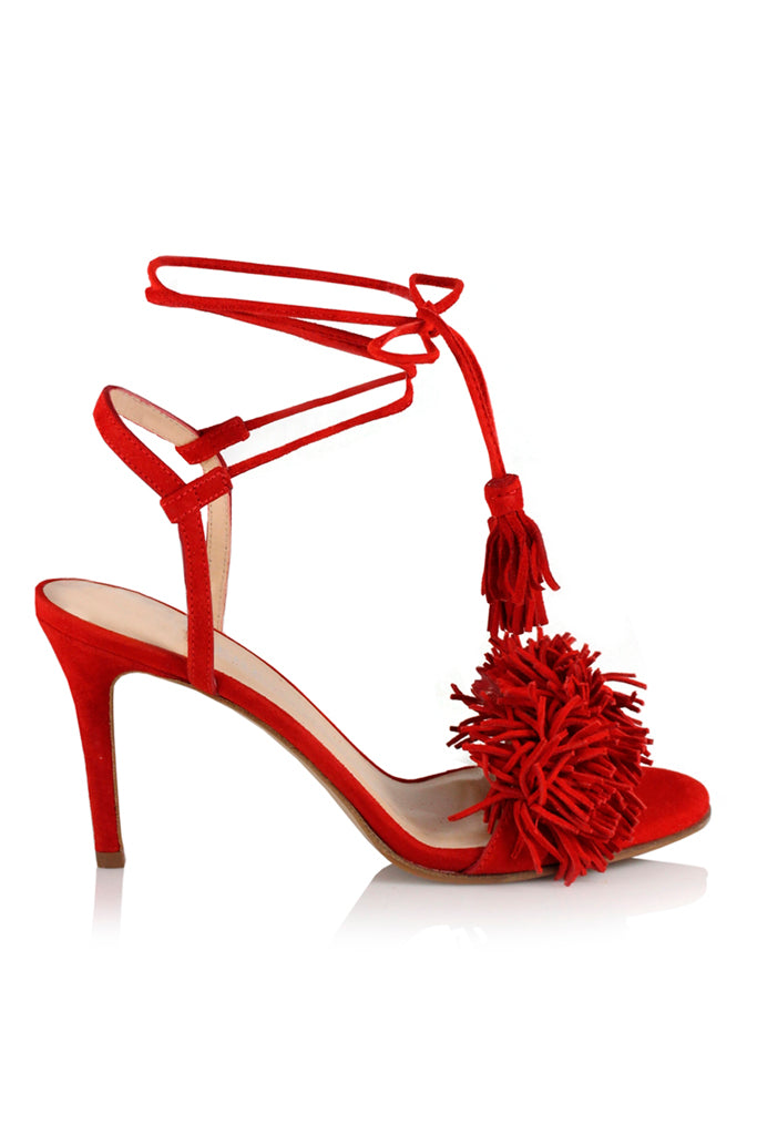 Juliet red suede heeled sandal