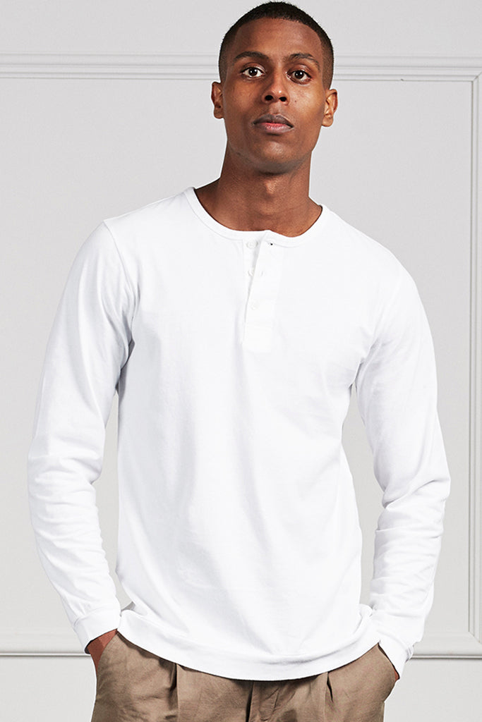 White Mitch pima long sleeve t-shirt