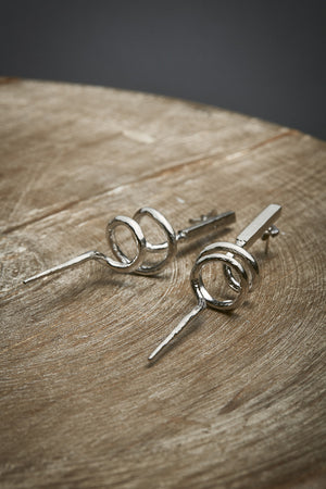 Variation on Eternity, silver earrings