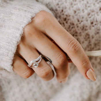 diamond curved wedding band rose gold