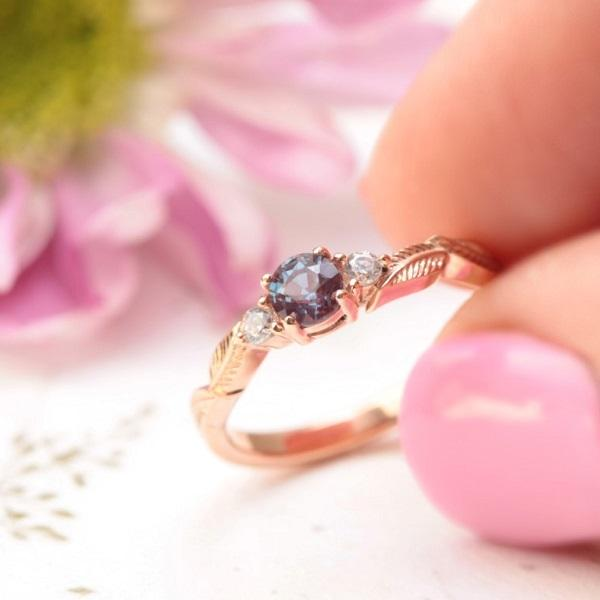alexandrite leaf engagement ring rose gold