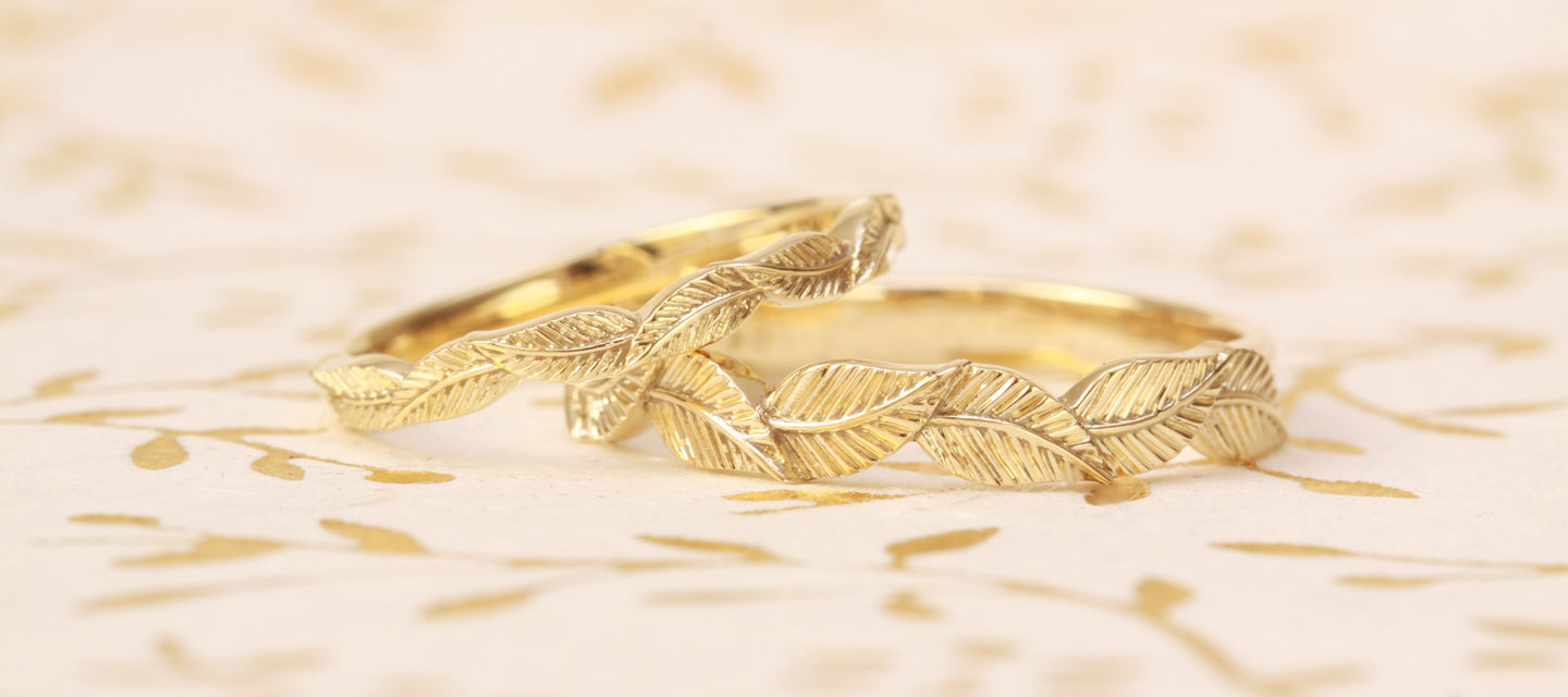 yellow gold leaf wedding rings