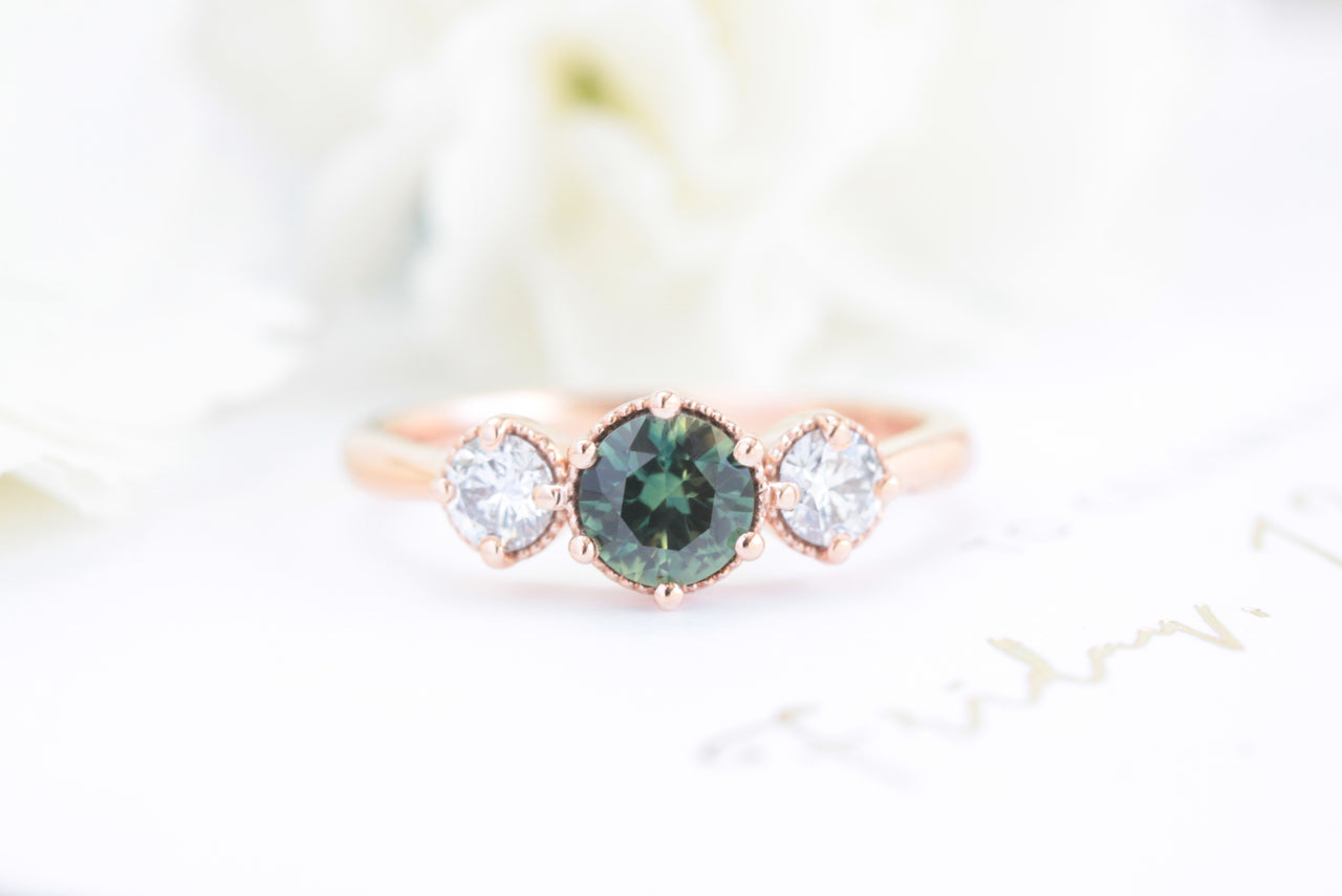 green sapphire engagement ring rose gold