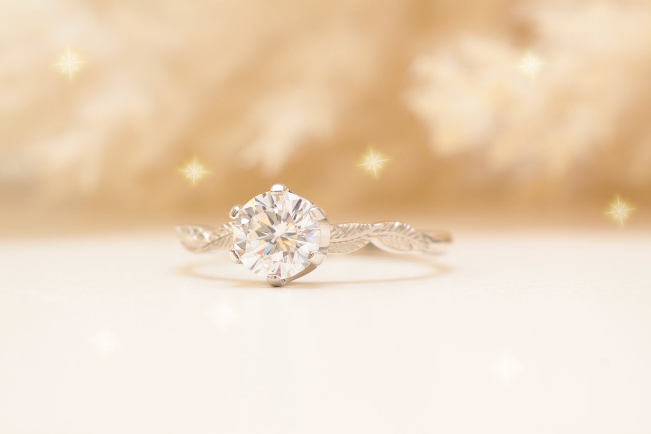 moissanite leaf engagement ring