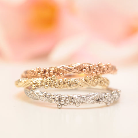wattle nature wedding rings in yellow white and rose gold