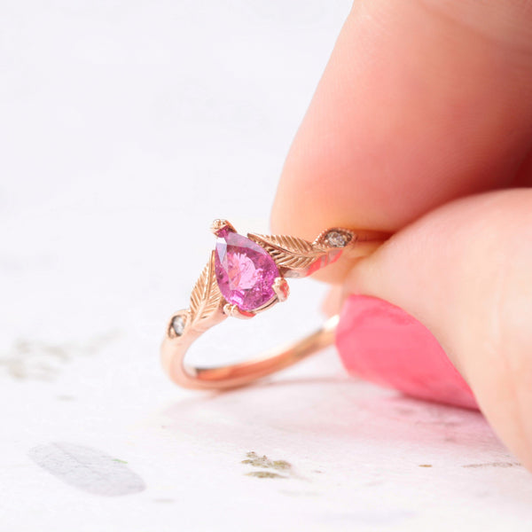 rubellite leaf engagement ring