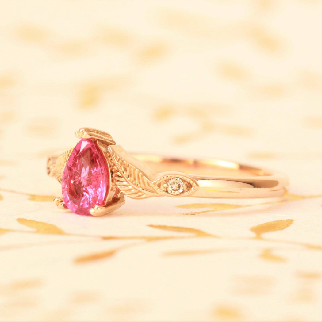rubellite engagement ring in rose gold