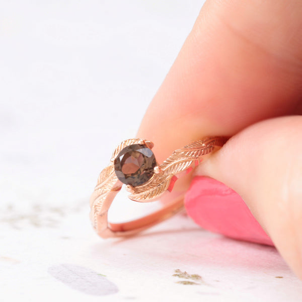smoky quartz leaf engagement ring