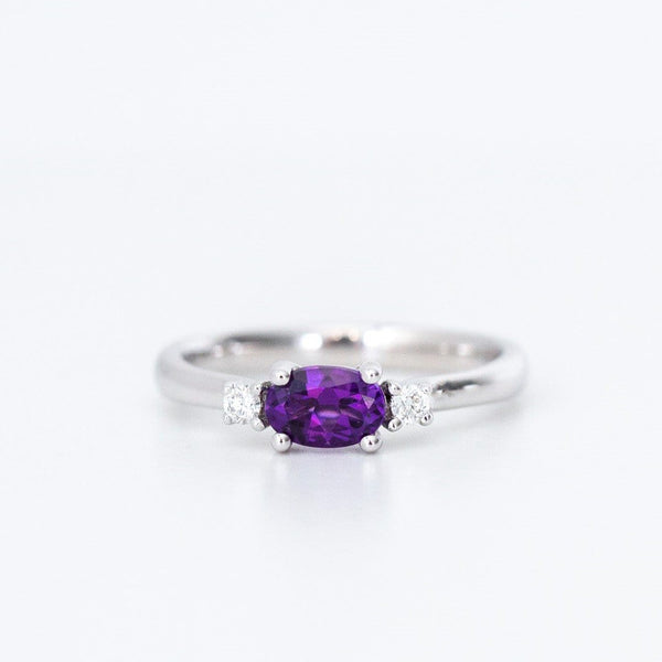 purple amethyst and diamond white gold engagement ring