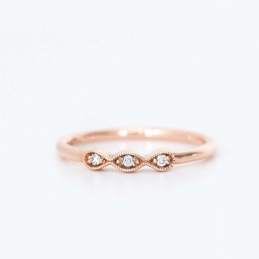 antique style diamond milgrain ring rose gold
