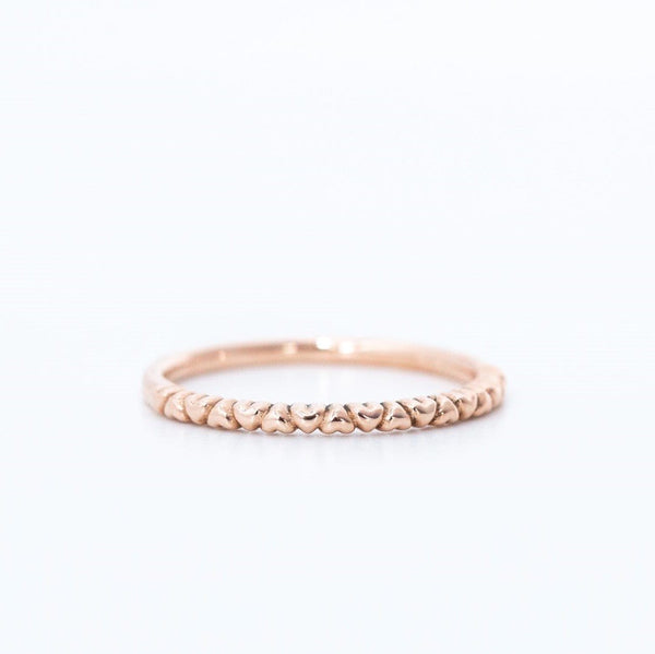 Heart eternity wedding ring in 14k rose gold