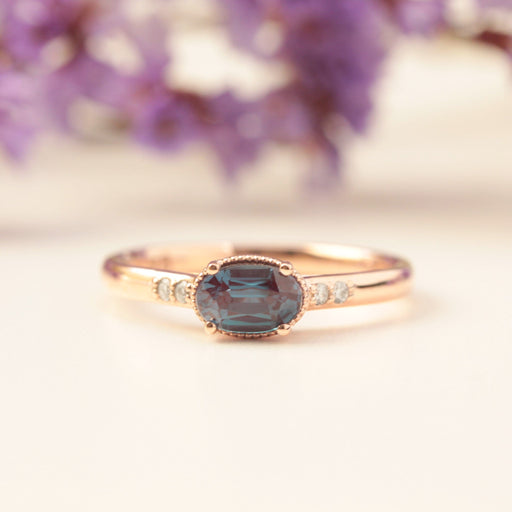 alexandrite diamond engagement ring in rose gold