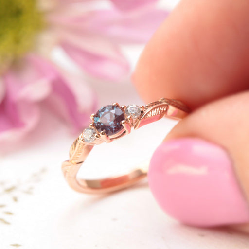 alexandrite leaf engagement ring in rose gold
