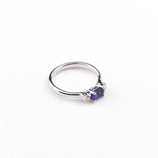 amethyst and diamond engagement ring side