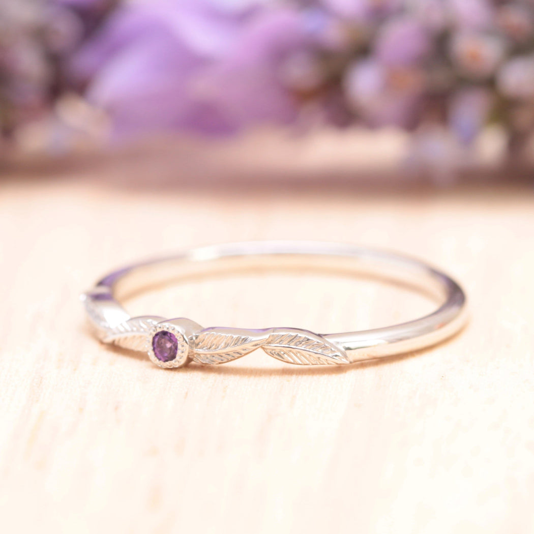 birthstone amethyst leaf ring