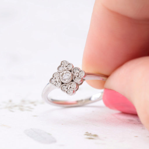antique style diamond engagement ring in white gold