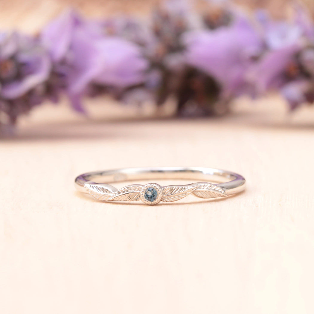 aquamarine birthstone leaf ring