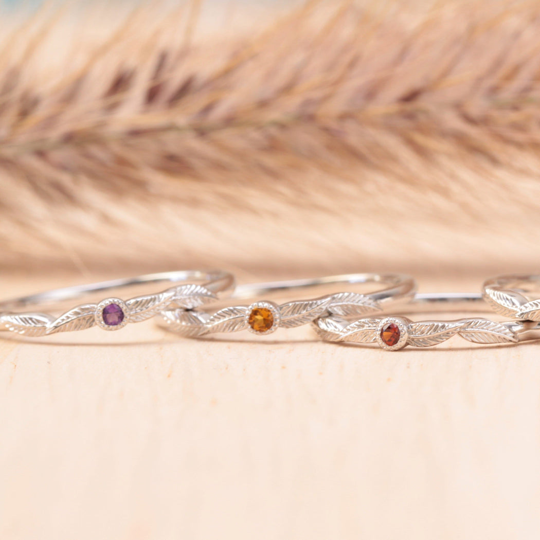 birthstone leaf rings