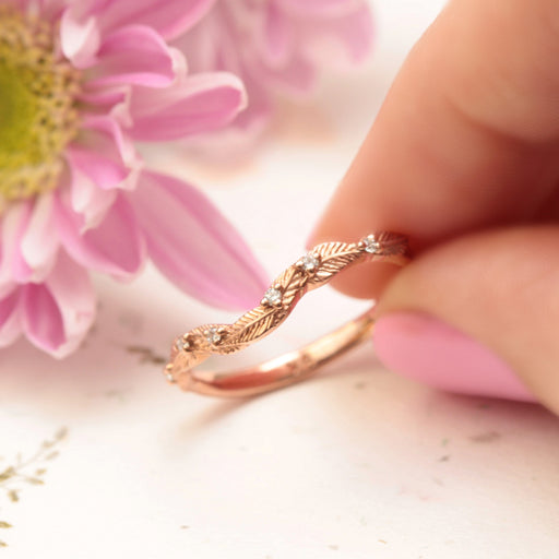 diamond curved leaf wedding band rose gold