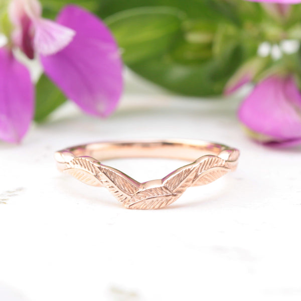 curved leaf wedding band rose gold