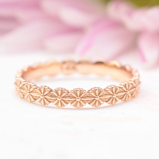 daisy flower wedding band rose gold
