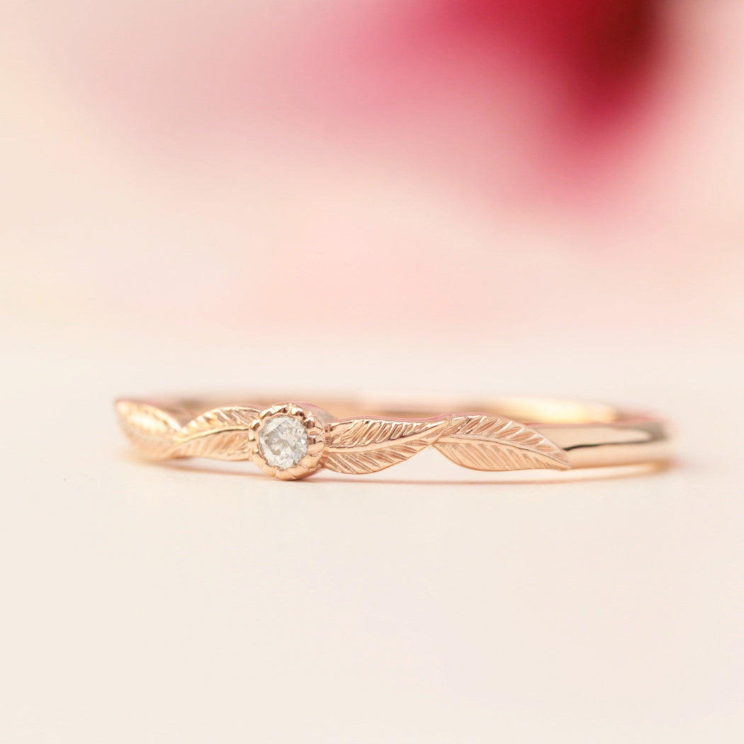diamond birthstone leaf ring in rose gold