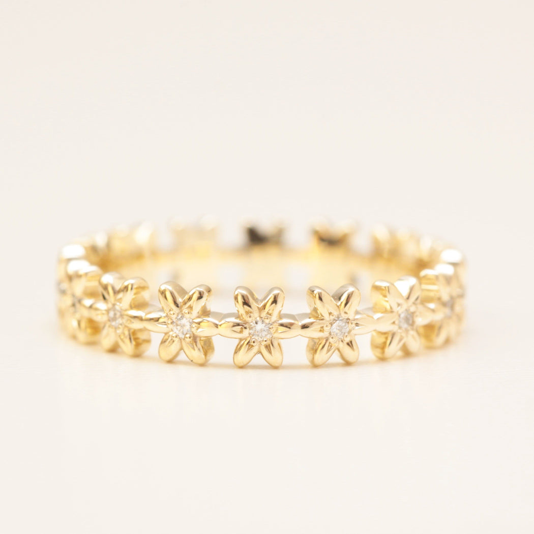 diamond eternity flower wedding band