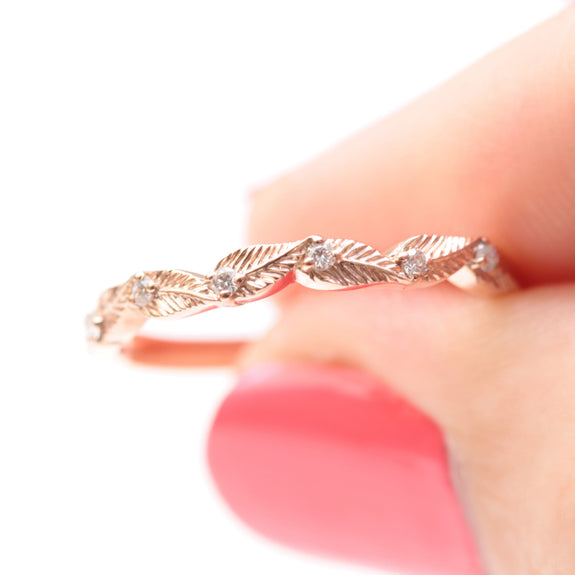 diamond leaf wedding ring in rose gold