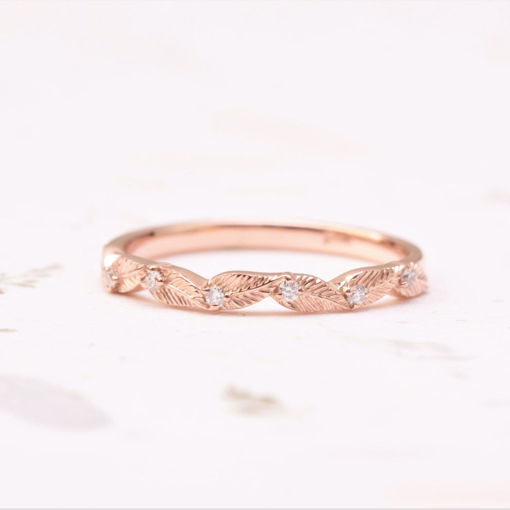 diamond leaf wedding band in rose gold