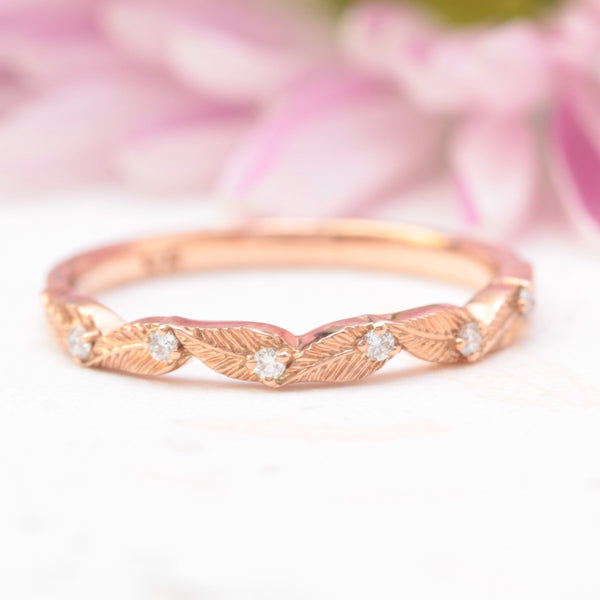 diamond leaf wedding band rose gold