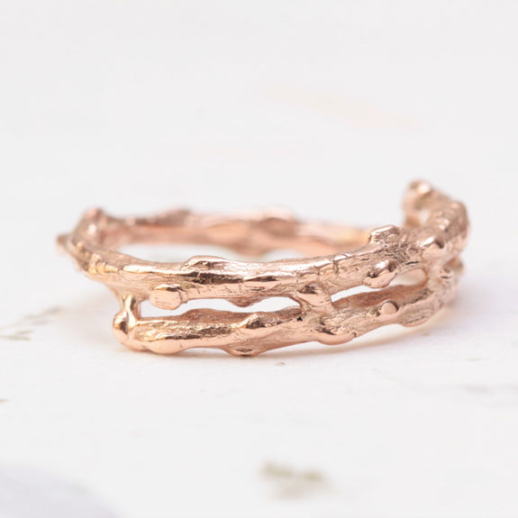double twig wedding ring in rose gold