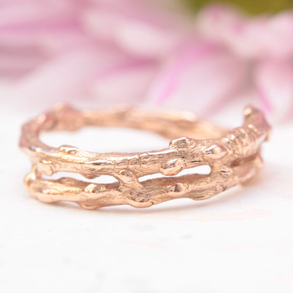twig wedding band in rose gold