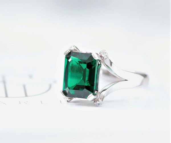 Emerald and Diamond Engagement Ring