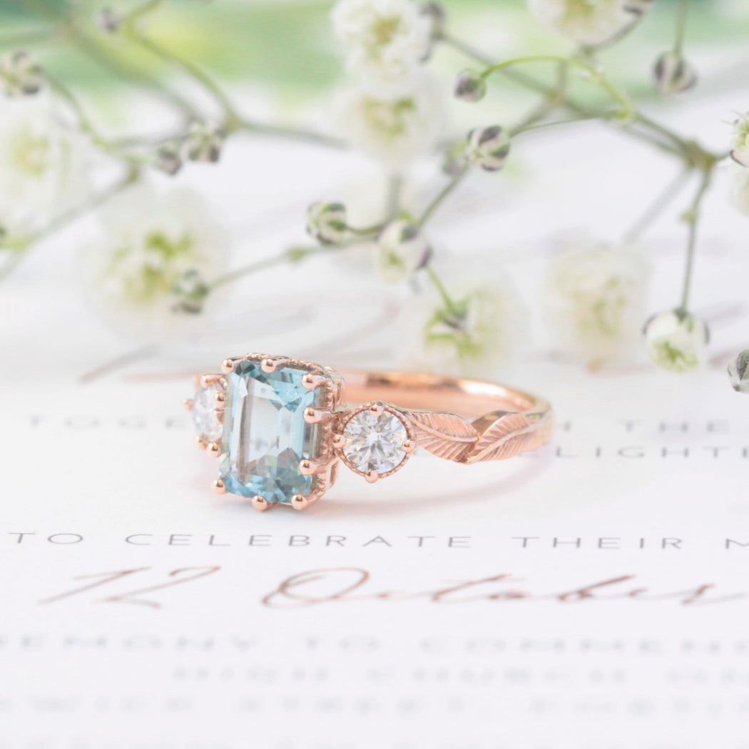aquamarine nature inspired engagement ring