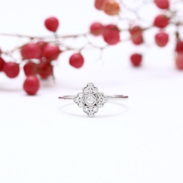 antique style ring on white background