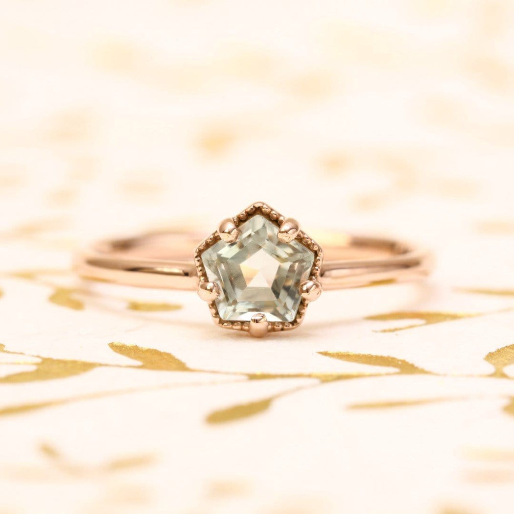 green amethyst engagement ring in rose gold