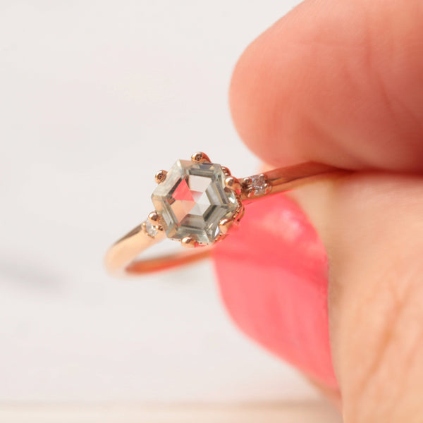 green amethyst and diamond ring in rose gold