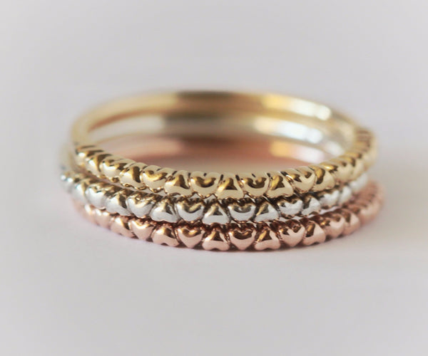 14k gold stacking heart rings in white yellow and rose gold